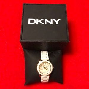 DKNY 3-Hand Pave Crystal Dial Watch